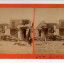 Image of St. John's Church and Vicarage with storm damage - Subject Photograph Collection