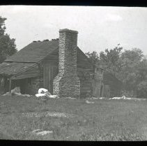 Image of Log cabin - Edward and Josephine Kemp Lantern Slide Collection