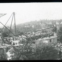 Image of Crowd on roof - Edward and Josephine Kemp Lantern Slide Collection