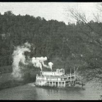 Image of Steamboat on river - Edward and Josephine Kemp Lantern Slide Collection