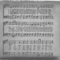"Image of ""Oh Worship the King"" hymn lyrics - All-Prayer Foundlings Home Lantern Slide Collection"