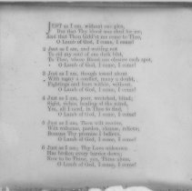 "Image of ""Just as I am"" hymn lyrics - All-Prayer Foundlings Home Lantern Slide Collection"