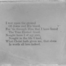"Image of ""I rest upon the ground"" hymn lyrics - All-Prayer Foundlings Home Lantern Slide Collection"