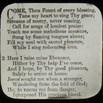 "Image of ""Come Thou Fount Of Every Blessing"" hymn lyrics - All-Prayer Foundlings Home Lantern Slide Collection"