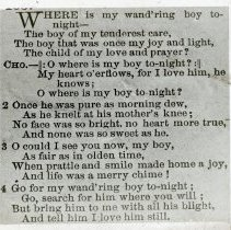 "Image of ""Where Is My Boy Tonight?"" hymn lyrics - All-Prayer Foundlings Home Lantern Slide Collection"