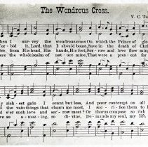 "Image of ""The Wondrous Cross"" hymn lyrics  - All-Prayer Foundlings Home Lantern Slide Collection"