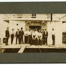 Image of Group standing outside Pastime Boat Club - Pastime Boat Club Photograph Collection