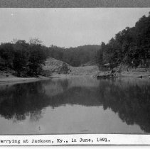 Image of Ferry crossing the Kentucky River                                                                                                                                                                                                                              - Rogers Clark Ballard Thruston Mountain Collection