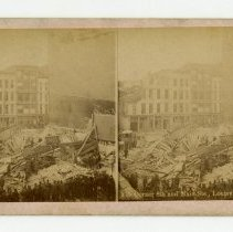 Image of 8th and Main Streets damage - Louisville Stereocard Collection