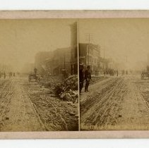 Image of 11th and Market Streets damage - Louisville Stereocard Collection