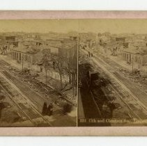 Image of 15th and Chestnut Streets damage - Louisville Stereocard Collection