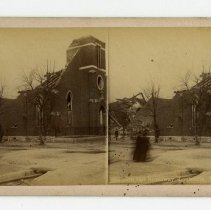 Image of 17th and Broadway damage - Louisville Stereocard Collection