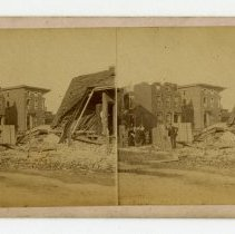 Image of 16th and Chestnut Streets damage - Louisville Stereocard Collection