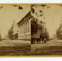 Image of Looking north on 4th Street, from Walnut Street - Louisville Stereocard Collection