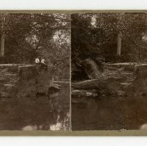 Image of Fishing off of Big Rock in Cherokee Park - Louisville and Indiana Views Stereocard Collection