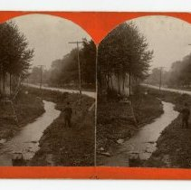 Image of Men by creek  - Louisville and Indiana Views Stereocard Collection