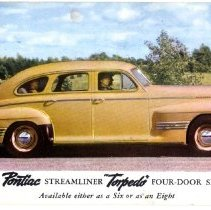 Image of 1941 Pontiac Streamliner 'Torpedo' Four-Door Sedan                                                                                                                                                                                                             - Postcard Collection