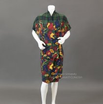 Image of Alfred Sung blouse and skirt in plaid silk - 2001.05.008 A+B