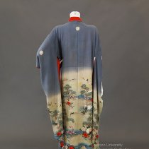 Blue-gray silk kimono with cranes and padded hem