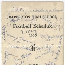 Image of 1935 BHS football schedule