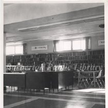 Image of 2014.024.009 - Barberton Public Library Reference Desk in the 1970's