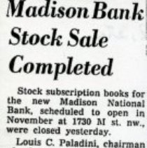 Image of Madison Bank Stock Sale Completed (1000.112.01k)