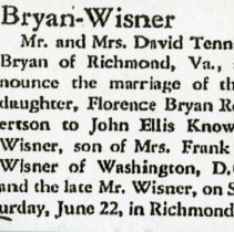 Image of Bryan-Wisner Wedding Announcement (1000.112.01g)
