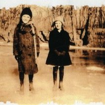 Image of Margaret and Helen on the ice (1000.124.03f)
