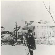 Image of 1990.04.01 - Robert Kirchmyer in snow with sled
