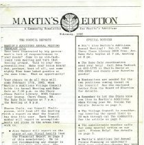 Image of 1995.02.03 - Martin's Edition Newsletters, 1982