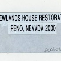 Image of 2001.03 - Newlands' House Restoration in Reno, Nevada