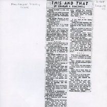 "Image of 2002.24.05 - Four newspaper clippings on ""This and That"" by Charles Tracewell"