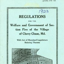 Image of 2006.08.01 - Regulations for the Welfare and Government of Section Five of the Village of Chevy Chase Md.  With Act of Maryland Legislature relating thereto.
