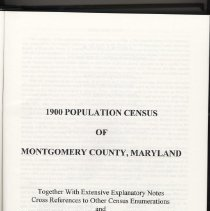 Image of 2006.26.07 - 1900 Population Census of Montgomery County MD