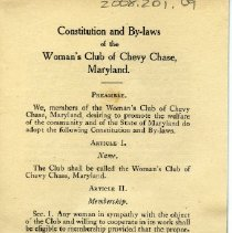 Image of 2008.201.09 - Constitution and By-laws of the Woman's Club of Chevy Chase