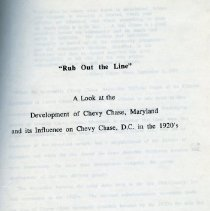 Image of 2008.20.46 - Rub Out the Line: A Look at the Development of Chevy Chase, Maryland and its Influence on Chevy Chase, DC in the 1920's