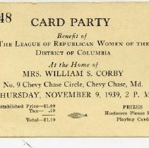 Image of 2009.1082.05 - Card Party ticket benefitting Republican Women of the District of Columbia