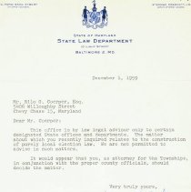 Image of 2009.1085.03 - Correspondence between Maryland Assistant Attorney General and Friendship Heights' attorney
