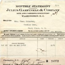 Image of 2009.2004.06 - Receipt for Julius Garfinkle and Company