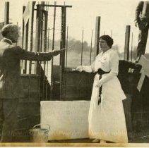 Image of Mabel Lewis Laying Cornerstone Admin Bldg