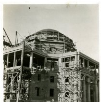 Image of Print, Photographic - B&W photo showing construction of Administration Bldg. with scaffolding in place.