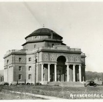 Image of Print, Photographic - Administration Bldg. Old car in rt foreground.  ca 1917
