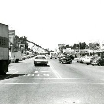 "Image of Print, Photographic - B&W photo of downtown Atascadero showing El Camino Real at intersection with Traffic Way looking north.  ""Delta Lines"" truck can be seen at left."