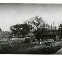 Image of Print, Photographic - B&W panoramic photo showing Atascadero High School under construction.
