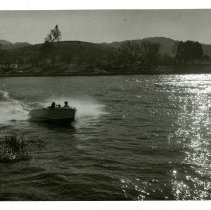 Image of Print, Photographic - B&W photo of a speed boat on Atascadero Lake.