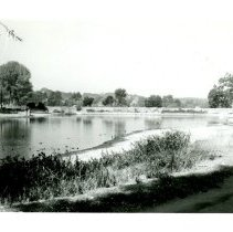 Image of Print, Photographic - B&W photo showing Atascadero lake and its shore line.