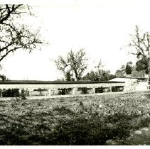 Image of Print, Photographic - B&W panoramic photo showing Headquarters house at left.