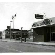 Image of Print, Photographic - B&W Photo showing Bank of America and Chevron gas station near the corner of Traffic Way & El Camino Real.
