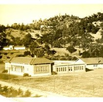 Image of Print, Photographic - B&W (sepia) photo showing the Atascadero Elementary School.  The hospital can be seen at left.