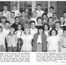 Image of Print, Photographic - B&W class picture showing the third grade class of Atascadero Elementary School - May 7, 1956.  1st row (L to R) - Judith Roberts, Donley Sanders, Linda McDaniel, Pearl Ruiz, Janice Bissell, Gary Davis, Darlene Macha.  2nd row - Michael Walsh, Tommy Anderson,  Leslie Pauls, Denny Duncanson, Monica Pauls, Michael Davis, Nancy Freeman.  3rd row - Leslie Burleson, Mary Le Gras, Gary Tully, Kenneth Brattin, Pamela Cadman, Sherry Safranek, Sondra Elliott, Owen Broyles.  4th row - Terry Elliot, Charles Paddock, Rolfe Nelson, Kathy Kelso, Dayle Lynn Johnson, David Falaschi, Richard Venable.  5th row - Victor Froberg, George Schachtell, Candy Rogers, Glenn McCullough, Robert Harris, Mrs Julietta Ferguson, teacher.